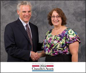 photo of Tenly Meyer receiving Chancellor's Award 2014